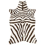 3'6 x 5'6 Turqoise Ivory Hand Tufted Stripe Faux Fur Zebra Shag Area Rug, Polyester Lively Safari Animal Africa Wilderness Shaggy Novelty Free Form, Indoor Bedroom Living Room Accent Carpet