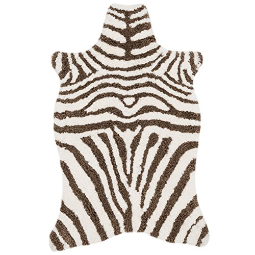 3'6 x 5'6 Turqoise Ivory Hand Tufted Stripe Faux Fur Zebra Shag Area Rug, Polyester Lively Safari Animal Africa Wilderness Shaggy Novelty Free Form, Indoor Bedroom Living Room Accent Carpet by Unknown