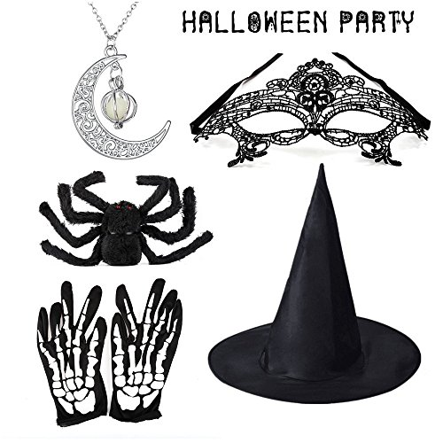 (Starlotus Halloween Prop Kits,Witch Hat/Glowing Necklace/Black Spider/Mask/Skeleton Gloves)
