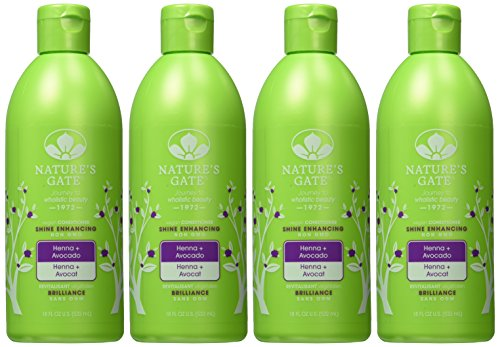 Nature's Gate Henna Shine Enhancing Conditioner for Dull/Lifeless Hair, 18 Ounce (Pack of 4)