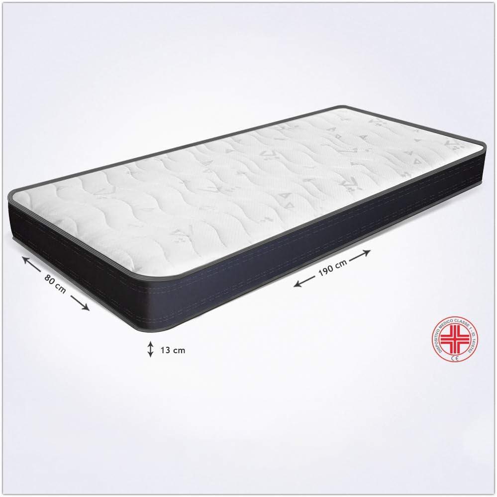 Miasuite i sogni italiani - Colchón individual anatómico plegable fabricado con poliuretano expandido, modelo Summit, 80 x 190 x 13 cm