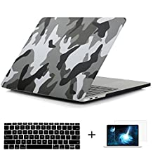 Mektron Matte Soft-Touch Series Plastic Hard Case & Screen Protector & Keyboard Cover For Macbook Pro 13 inch with Touch Bar (Model:A1706,Released October 2016),Camouflage Gray