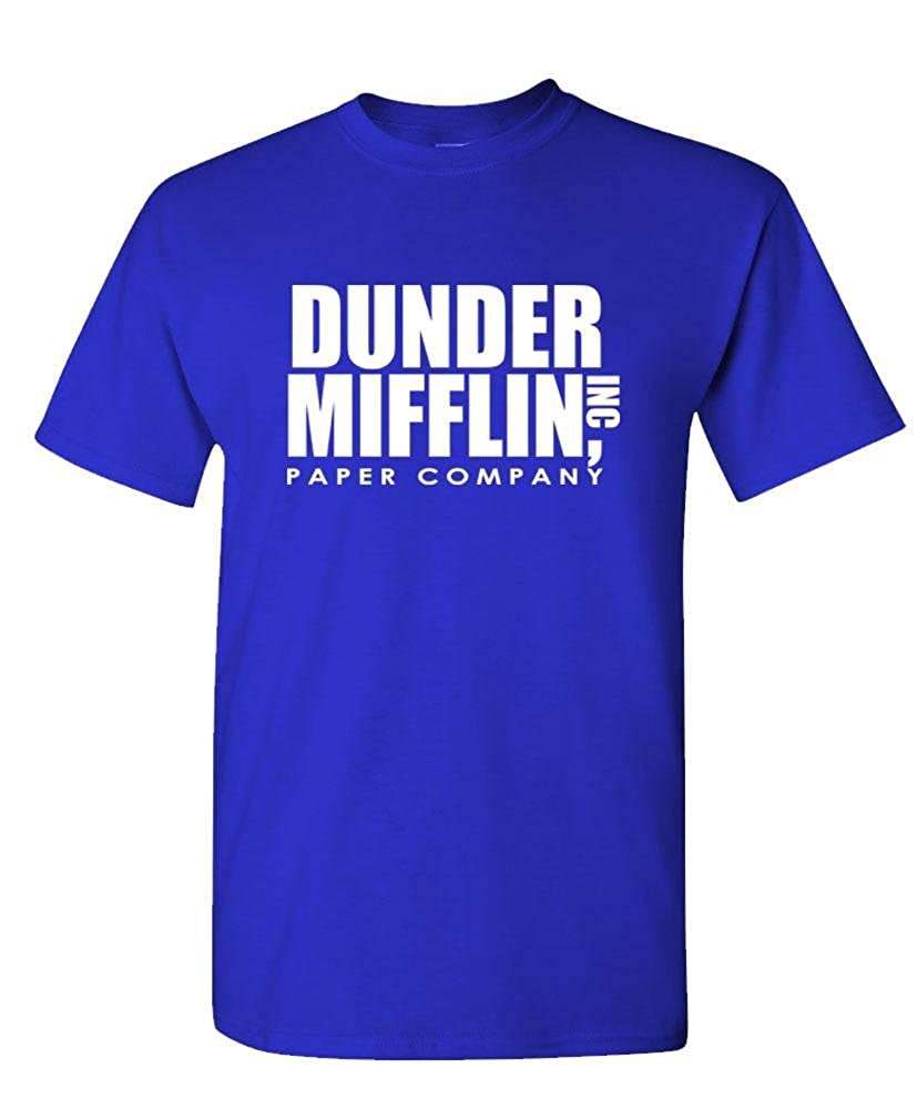 6b7028cc112f Amazon.com: The Office TV Show Dunder Mifflin Paper Men's Royal Blue T-Shirt:  Clothing