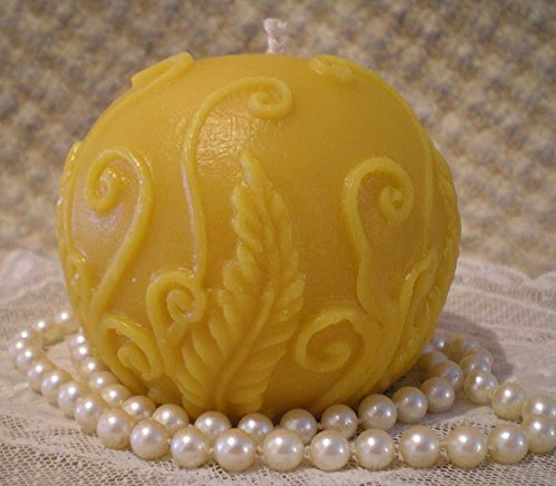 - Pure Beeswax Rustic Embossed Fern Ball Candle Natural Color