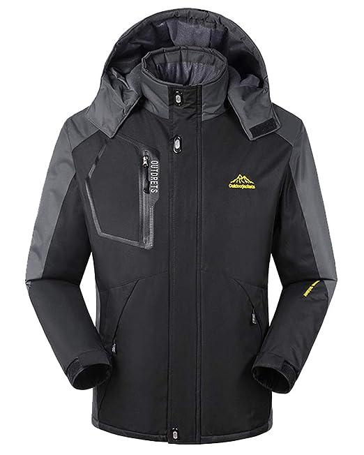 Suncaya Chaqueta para Hombre Abrigo Impermeable para Deportes Esquí Invierno Chaqueta de Nieve a Prueba Viento con Capucha