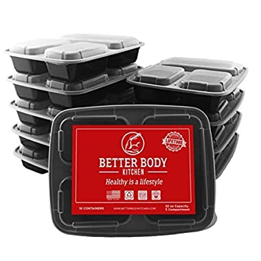 Meal Prep Food Containers by Better Body Kitchen ( Set of 10 ) – 3 Compartments and 32 oz Capacity for a Bigger Better Meal