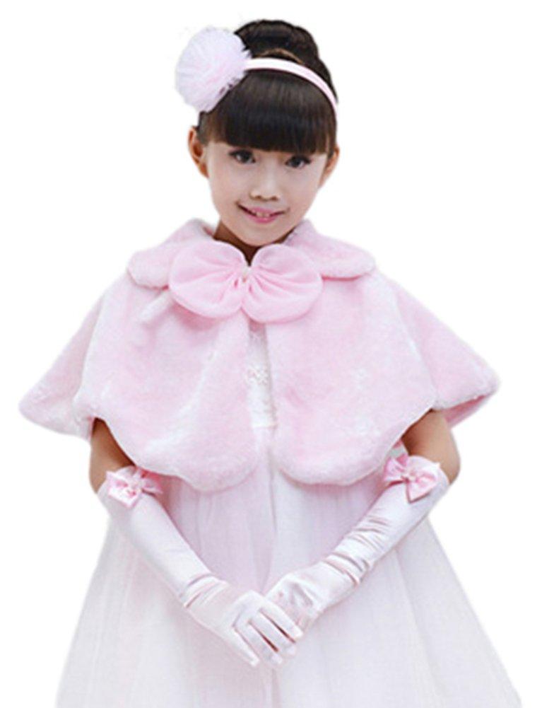 SK Studio Faux Fur Flower Girl Bolero Shrug Accessories Princess Cape Pink