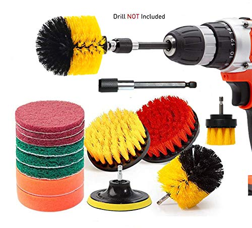 Drill Brush,14PCS Scrub Pads Power Scrubber Cleaning Kit,Cleaning Supplies,Bathroom Accessories,Shower Cleaner,Kitchen…