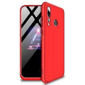 JINCHANGWU Carcasa Funda para Huawei Nova 4 Forro Ultra-Delgado Anti-Arañazos con Protector De Patalla - Rojo