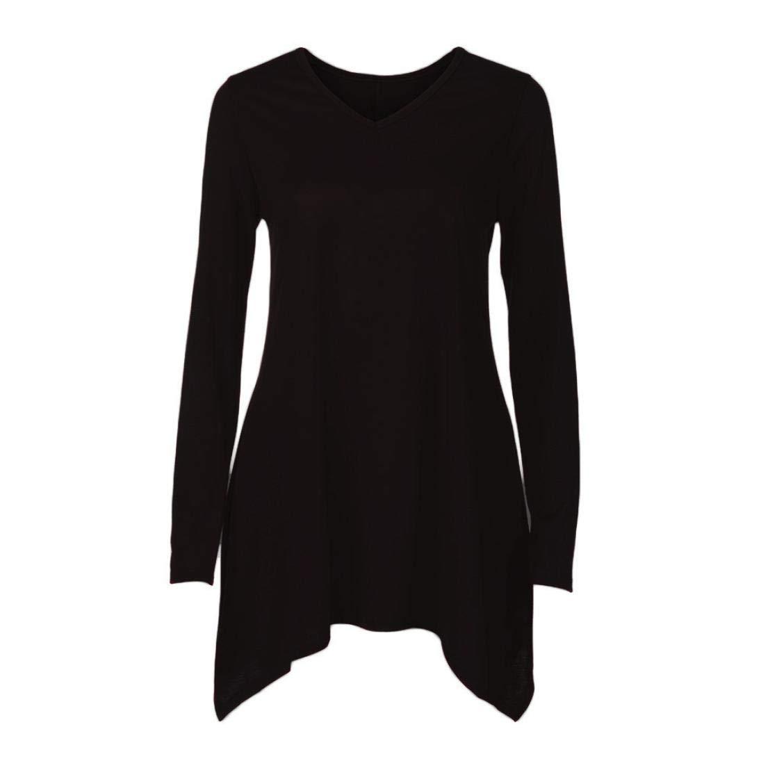MEIbax Pullover Donna Lungo Moda/Maglietta Donna Elegante/Bluse e Camicie Donna Taglie Forti a Manica Lunga/Camicia e Top Scollo a V/Camicetta di Colore Puro