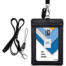 """Badge Holder, Wisdompro Double Sided PU Leather ID Badge Card Holder with 23"""" Detachable Neck Lanyard / Strap - Black (Vertical)"""