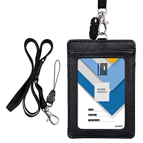 Badge Holder, Wisdompro 2-Sided PU Leather ID Badge Card Holder Wallet Case with 1 Clear ID Window & 1 Credit Card Slot and 22 Inch Quick Rlease Detachable Neck Lanyard/Strap - Black (Vertical)