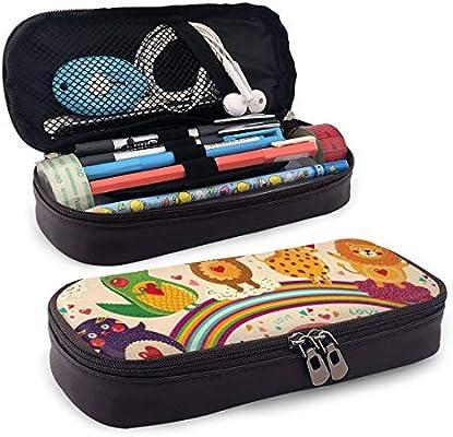 Estuche para lápices y bolígrafos con diseño de oso de peluche, elefante, cocodrilo, pájaros en arco iris, con efecto de dibujo, ideal para lápices y bolígrafos: Amazon.es: Oficina y papelería