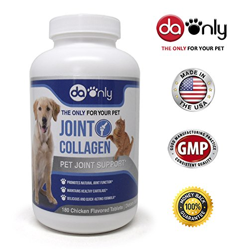 Optimum Flavored Vitamins (Dog Joint supplement for dogs and cats with collagen, anti-inflammatory + Magnesium for dogs, dog vitamins C & D, best joint supplement for dogs and cats. DAONLY, 180 Chicken Flavored.)