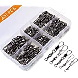 MOBOREST 200PCS Barrel Snap Swivel Fishing Accessories, Premium Fishing Gear Equipment with Ball Bearing Swivels Snaps Connector for Quick Connect Fishing Lures