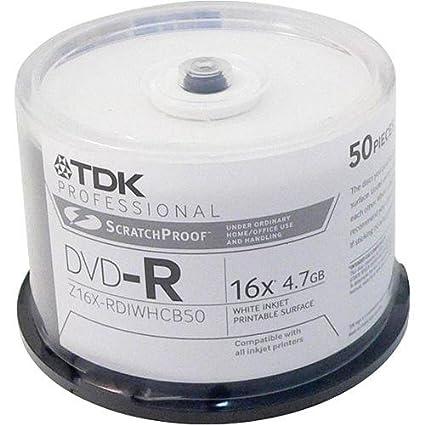 TDK DVD-R - Discos de Tinta para Impresora (4,7 GB, 16 X, 50 ...