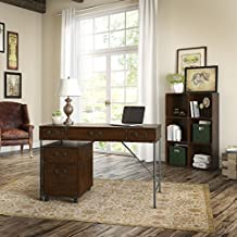 Ironworks 48W Writing Desk, 2 Drawer Mobile Pedestal, and 6 Cube Bookcase