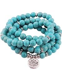 8mm Mala Amazonite 108 Beads Necklace for Yoga Buddhist...