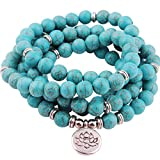 GVUSMIL 8mm Mala Turquoise 108 Beads Wrap Bracelets Necklace for Yoga Buddhist Rosary Prayer Charm Natural Gemstone Jewelry for Women Men