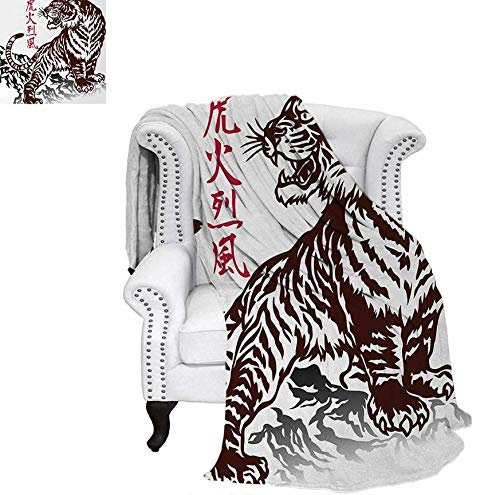 Print Artwork Image Wild Chinese Tiger with Stripes and Roaring While its Paws on Rock Asian Pattern Warm Microfiber All Season Blanket 60
