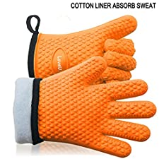 LoveU. Oven Mitts - Silicone and Cotton Double-layer Heat Resistant Gloves / Silicone Gloves / Oven Gloves / BBQ Gloves - Perfect for Cooking Baking and Grilling - 1 Pair (Orange)