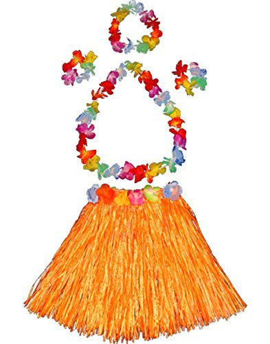 Girl's elastic Hawaiian hula dancer grass skirt with flower costume set-orange (Flower Hula Skirt)