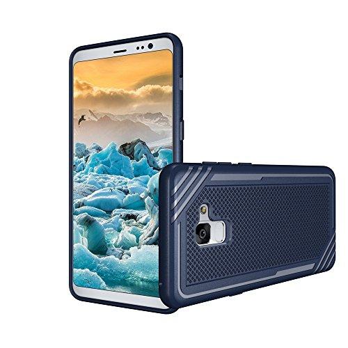 Caja texturizada a prueba de golpes suave TPU para Samsung Galaxy A8 + (2018) ( Color : Gray ) Blue
