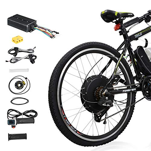 heel Electric Bicycle Conversion Kit, 48V 1500W E-Bike Powerful Hub Motor Kit with Intelligent Controller and PAS System, Restricted to 750W for Road Bike ()