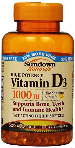 Sundown Naturals Vitamin D3 1000 IU, 400 count (4 Pack)