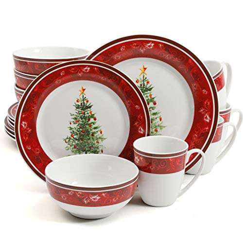 Gibson Home Noel Nostalgia 16 Piece Dinnerware Set - (Christmas Theme)