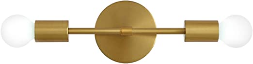 2-Light Modern Vanity Light, Gold Wall Lighting Mid Century Wall Lamp Mounted Sconce Brushed Brass Wall Sconce for Bedroom Mirror Living Room Entryway Hallway (1 Pack)