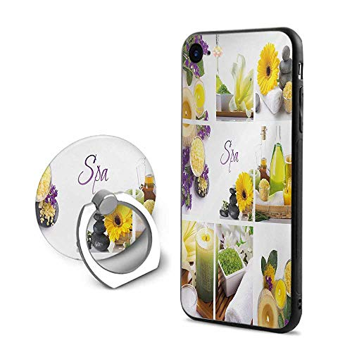 - Spa iPhone 6 Plus/iPhone 6s Plus Cases,Yellow Happy Peaceful Spa Day with Flowers Candles and Herbal Oils Art Yellow Purple and White,Mobile Phone Shell Ring Bracket
