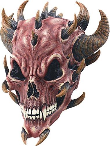 Lucifer Mask - Men's Halloween Satan Lucifer Fancy Dress Costume Accessory Red Devil Skull Mask