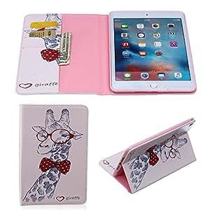 Apple iPad Mini 4-BADALINK-Funda de piel sintética con tapa y función atril para tablet, diseño de jirafa
