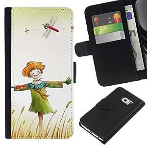 KingStore / Leather Etui en cuir / Samsung Galaxy S6 EDGE / Dise?o feliz del espantapájaros