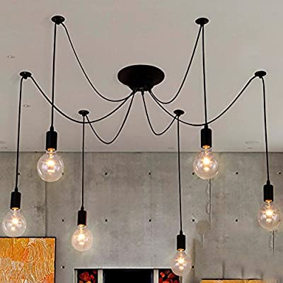 NAVIMC Black Vintage Industrial Pendant Light Fixtures Home Ceiling Light Chandeliers Lighting,Edsion Style