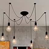 NAVIMC Black Vintage Industrial Pendant Light Fixtures Home Ceiling Light Chandeliers Lighting,Edsion Style (6 Lampholders) For Sale