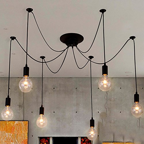 NAVIMC Black Vintage Industrial Pendant Light Fixtures Home Ceiling Light Chandeliers Lighting,Edsion Style (6 Lampholders) (Multi Pendant Light Fixture)
