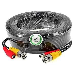 iKKEGOL 5M 10M 15M 50M 20M 30M BNC Video DC Power Extension Cable for CCTV Camera DVR Lead (15M)