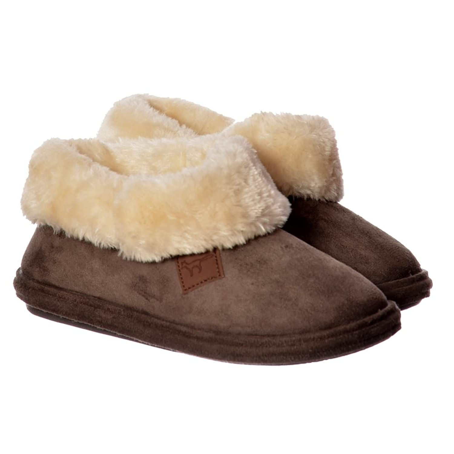 Jo & Joe Chiltern Fur Lined Fur Collar Slipper Boot - Cognac, Dark Brown UK5 - EU38 - US7 - AU6 Dark Brown