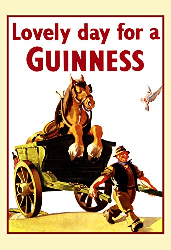 - Guinness Poster, Lovely Day for a Guinness, Pulling Horse in Cart