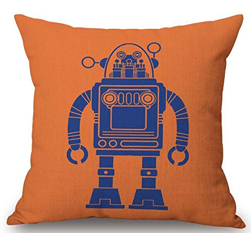 The Clever Robot Cotton Linen Decorative Pillowcase Throw Pillow Cushion Cover Square 18