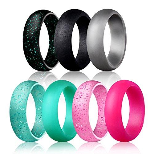 Egnaro Silicone Wedding Rings - 7 Rings Pack - Design for Women Size 4-8, Glitter Pink,Glitter Green,Glitter Black,Black, Light Grey,Rose Red, Green (6.5-7(17.3mm))