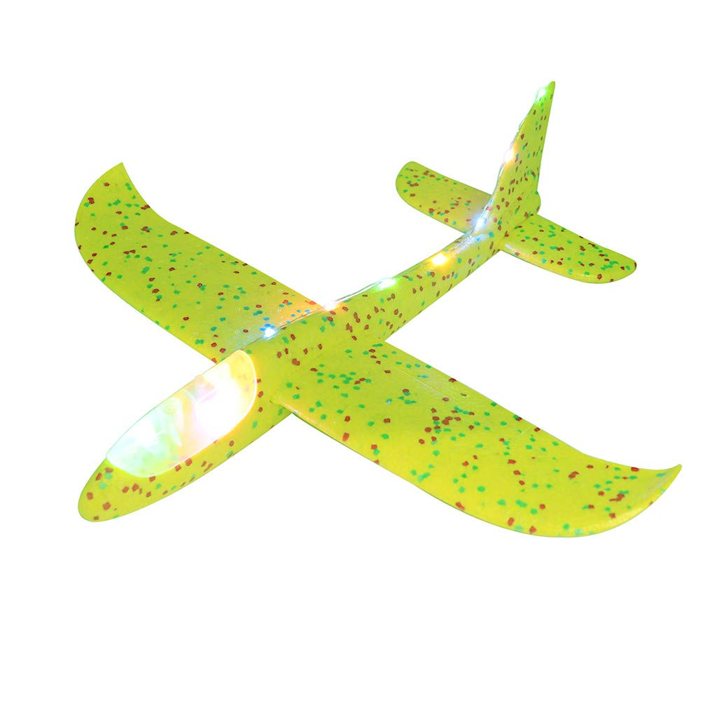 Weite Adults Kids LED Light Up Throwing Foam Airplane Model Toys Fun Flying Aircraft Jet Aeroplane Glider Inertia Plane Blue Outdoor Sports Game Flying Toy Gifts