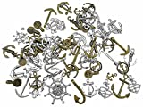 Kinteshun Anchor Steering Wheel Steampunk Charm Alloy Assorted Nautical Rudder Helm Fishhook Charm Pendant Connector for Sailor Navy DIY Jewelry Making (100 Grams,Antique Silver&Bronze Tones)