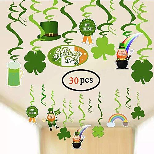 Volcanics St Patricks Day Decorations Irish Saint Patricks Shamrock Clover Swirl Green Hanging Foil Swirls Party Hanging Supplies 30PCS
