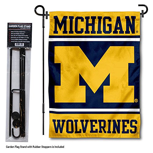 College Flags and Banners Co. Michigan Wolverines Garden Flag with Stand ()