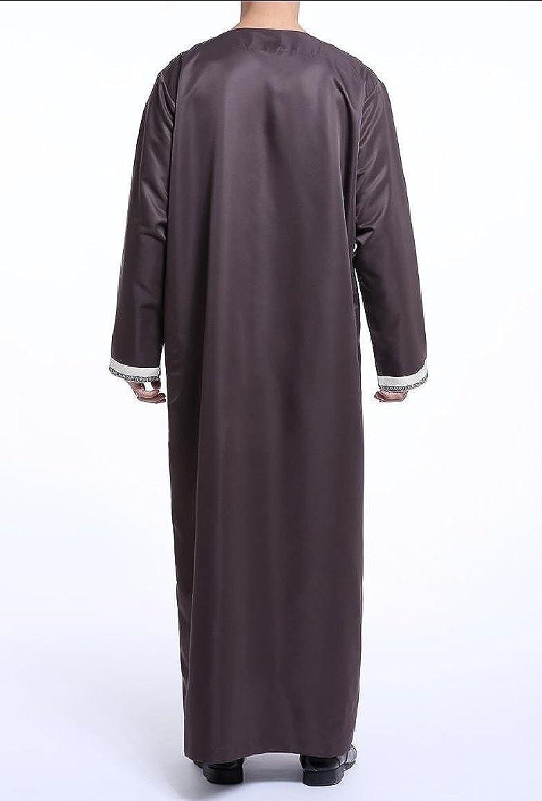 RDHOPE-Men Islamic Floral Printed Long-Sleeve Muslim Shirt Blouse Tops