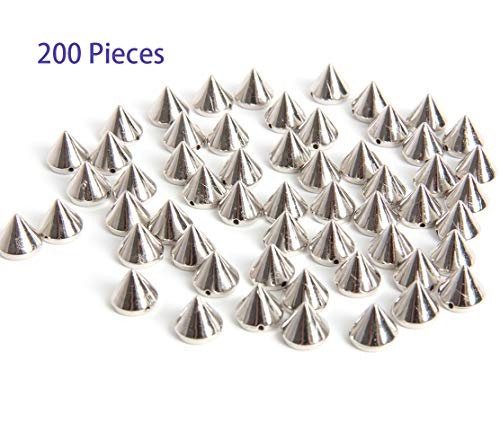 Hapy Shop 200 Pieces Bullet Spike Cone Studs for Bags & Shoes Embellishment, DIY, Craft,Purse Feet Spike, Cool Rivets Punk,Silver,10mm