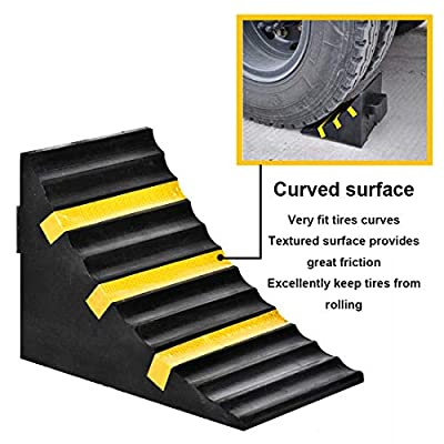 RELIANCER 2 Pack Wheel Chocks Heavy Duty Extra Large Industrial Rubber Wheel Chock Blocks w/Handle Reflective Strips for Travel Trailer Hauler Truck Fire Truck Commercial Vehicle RV 10